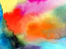 Watercolor art abstract background sky clouds sunrise sunset rainbow texture wet wash blurred fantasy. Art abstract background extruded in watercolor. nature Stock Photo