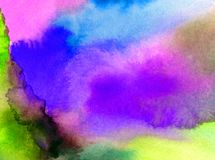 Watercolor art abstract background sky clouds sunrise sunset rainbow texture wet wash blurred fantasy. Art abstract background extruded in watercolor. nature Stock Image