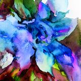 Watercolor art abstract background floral exotic flower texture wet wash blurred fantasy. Art abstract background extruded in watercolor. nature bright wash Stock Images