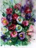 Watercolor art abstract background floral aster wild flowers blossom branch texture wet wash blurred fantasy. Art abstract background extruded in watercolor Stock Image