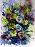 Watercolor art abstract background floral aster wild flowers blossom branch texture wet wash blurred fantasy. Art abstract background extruded in watercolor Stock Photos