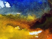 Watercolor art abstract background sky cloud landscape autumn blot overflow texture wet wash blurred fantasy. Art abstract background extruded in watercolor Stock Image