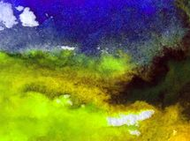 Watercolor art abstract background sky cloud landscape autumn blot overflow texture wet wash blurred fantasy. Art abstract background extruded in watercolor royalty free illustration