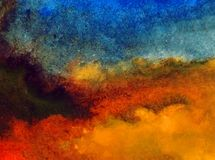 Watercolor art abstract background sky cloud landscape autumn blot overflow texture wet wash blurred fantasy. Art abstract background extruded in watercolor Royalty Free Stock Photo