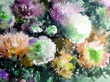 Watercolor art background abstract floral flower aster white pink violet  wet wash blurred fantasy. Art abstract background extruded in watercolor. nature bright Stock Photography