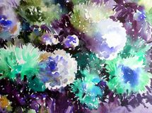 Watercolor art background abstract floral flower aster white pink violet  wet wash blurred fantasy. Art abstract background extruded in watercolor. nature bright Royalty Free Stock Images