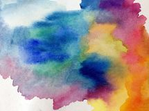 Watercolor art abstract background fresh beautiful sky sunset sunrise nature  textured wet wash blurred  fantasy. Art abstract background extruded in watercolor Royalty Free Stock Photo