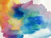 Watercolor art abstract background fresh beautiful sky morning sunrise nature  textured wet wash blurred  fantasy Stock Photos