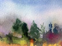 Watercolor art abstract background fresh beautiful landscape sky  forest trees pine nature textured wet wash blurred fantasy. Art abstract background extruded in Stock Photos