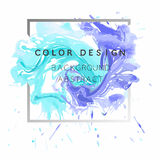 Art abstract background watercolor paint  texture design poster illustration  over square frame. Stock Photography