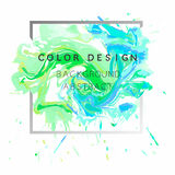 Art abstract background watercolor paint  texture design poster illustration  over square frame. Royalty Free Stock Images