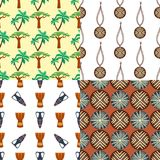 Art abstract geometry seamless pattern colour palm trees drum geometric graphic texture background vector illustration. Fabric decoration orange ornament Royalty Free Stock Images