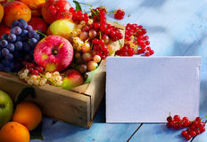 Art abstract market background fruits on a wooden background Stock Photos