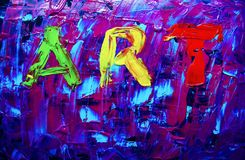 Abstract art painting with acrylic colors. Royalty Free Stock Image