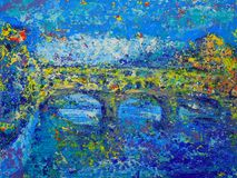 Art abstract paint with acrylic colors. Abstract painting of Ponte Vecchio in Florence, Italy Royalty Free Stock Photos