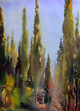 Art abstract paint. Mediterranean trees painted by watercolor Royalty Free Stock Photos