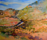 Art abstract paint. Mountain landscape painted by watercolor Stock Images