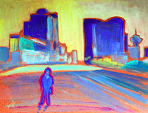 Art abstract paint. Painting of the Man in Vancouver City Stock Photos