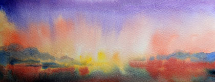 Art abstract paint. Watercolor painting landscape of sunset and mountain lake Royalty Free Stock Image