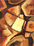 Art abstract painted background with orange and brown geometrical shapes. Stones pattern. Royalty Free Stock Photos