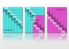 Art abstrait de couleur moderne de bleu et de rose, fond et ensemble de modèle illustration libre de droits