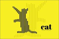 Art abstrait de ligne numérique, Cat Action, bannière de conception d'illustration de vecteur, fond Photographie stock libre de droits