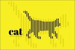 Art abstrait de ligne numérique, Cat Action, bannière de conception d'illustration de vecteur, fond Photo libre de droits
