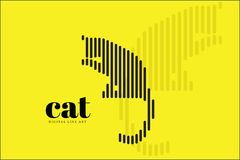Art abstrait de ligne numérique, Cat Action, bannière de conception d'illustration de vecteur, fond Photos libres de droits