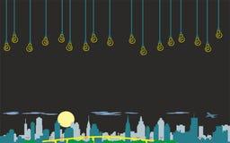 Art abstrait de mur, vecteur original d'image de nuit de ville de papier peint illustration stock