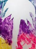 Art abstrait de peinture : Empreinte et couleurs blanches de paume Photos stock