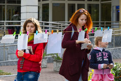 Art-action FotoDrying outdoors during City Day celebrations, Gomel, Belarus Stock Photo