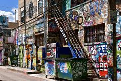 Art Alley in Rapid City. RAPID CITY, SOUTH DAKOTA, May 23, 2018: The paint graffiti art is found in Art Alley, Rapid City began as a public art project in 2005 royalty free stock photography