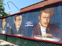 Art américain de mur de wagon-restaurant de ville dans le parking photographie stock libre de droits