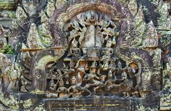 art of ancient Hindu god stone Cambodia. Ancient Khme Stock Photos