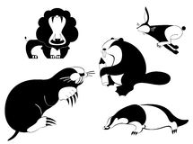 Art animal silhouettes Royalty Free Stock Images