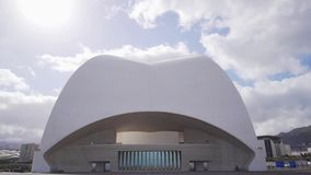 The art of architecture is the exterior of the auditorium. Roof of a beautiful modern spanish building Auditorio de