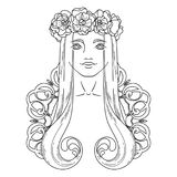 Art in Art Nouveau style with beauty girl in wreath. Stock Photo