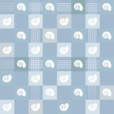 White marine life sea snail repetitive pattern with blue squares and lines. Seamless. For gift wrapping paper or template backgrou Royalty Free Stock Photo