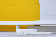 Art in Asturias 5. Facade of a building of modern architecture with white and yellow colour Stock Photos