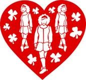 Art avec les filles de danse irlandaises au coeur rouge illustration de vecteur