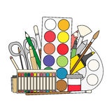 Art and back to school Supplies- paint brushes, pencils, paint, liners. Stock Images