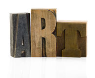 Art background. Wooden typescript letters forming the word art Royalty Free Stock Photos