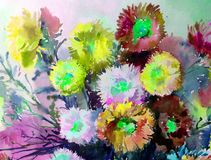 Watercolor art background delicate colorful nature flowers asters bouquet fresh romantic. Art background abstract extruded in watercolor technical. colorful Stock Images