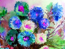 Watercolor art background delicate colorful nature flowers asters bouquet fresh romantic Stock Photo