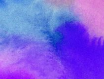 Watercolor art background abstract splash blue pink colorful textured wet wash blurred. Art background abstract extruded in watercolor technical. colorful Royalty Free Stock Images