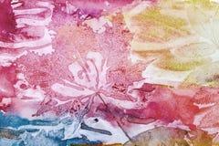 Art background, autumn leaf prints on paper texture Stock Image