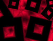 Art background with black shapes cube in a red geometrical texture Stock Image
