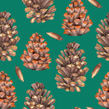 Art, background, brown, bud, card, celebration, christmas, cluster, colors, cone, decoration, element, figure, fine art, fir, flor. A seamless pattern with the Stock Images