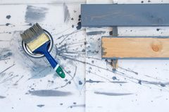 Art background. Brushes for painting on wooden canvas royalty free stock photo