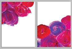 Art background business cards. Stroke of the paint brush. Art background cards. Abstract acrylic roses. Collection of invitation cards. Vector illustration Royalty Free Stock Image
